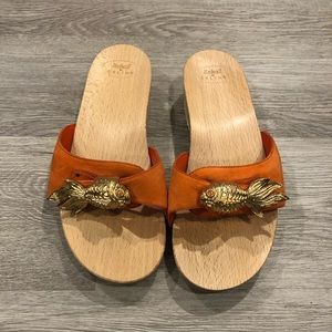 Celine Paris Suede Embellished Wood Slides  Sz 37
